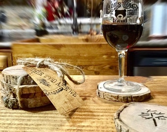 Handcrafted wood coasters.