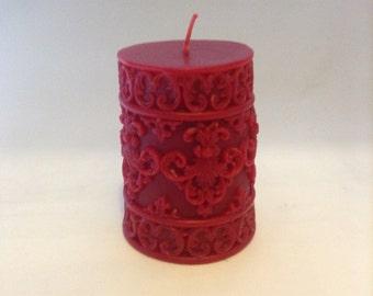 100% Pure Beeswax Fleur De Lis Sculpted Pillar candle - Handmade Candle
