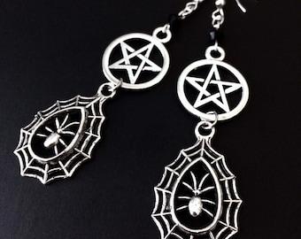 Spider Web Earrings, Spider Webs, Pentacle Earrings, Spider Jewelry, Witchy Earrings, Gothic Jewelry, Pentacle Jewelry, Silver Spider Webs
