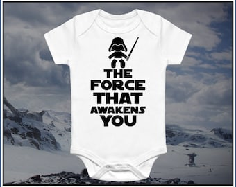 The Force that Awakens You baby Funny Star Wars Onesie. Perfect Baby Shower Gift a Unisex Baby Clothes for Baby Boy or Baby Girl