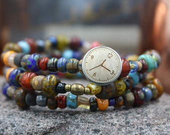 Men's Beaded Bracelet, Czech Glass Beads, African Bone Beads, Indian Horn Beads, Wood Button, East Grand Blvd. Bracelet