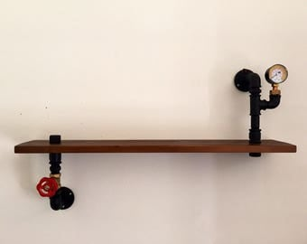 Industrial Steampunk style shelf in plumbing pipes.