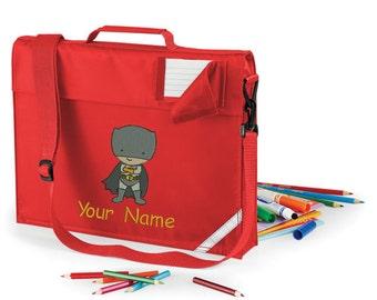 Personalized Embroidered School Book Bag-Messenger bag Preschool - kindergarten book bag with strap  With Super Hero - batman Design- Name