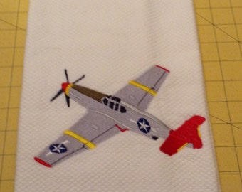 P-51 Mustang Red Tail (Tuskegee Airmen)! Embroidered Williams Sonoma All Purpose Kitchen Hand Towels 20 x 30, Extra Large
