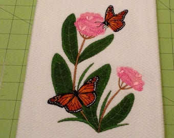 Monarch Butterfly and Milkweed!  Embroidered Williams Sonoma All Purpose Kitchen Hand Towel,  100% Cotton, Made in Turkey, XLarge