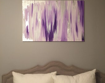 SOLD! Original abstract painting with purple, silver, gray, white, and silver leafing.