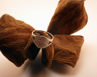 Star ring handmade in bronze and silvered with aged silver