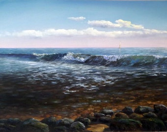 "Original Oil Painting by Oleg Riabchuk ""Wave 2"""