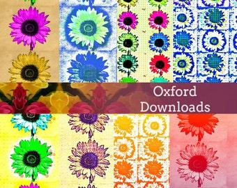 Sunflower Photography Scrapbooking Paper 8 x 8, Digital Pages, Printable Art, Digital Download, Sunflower Art, Cardmaking, Journaling