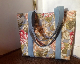 Blue Floral Pattern Shoulder Purse