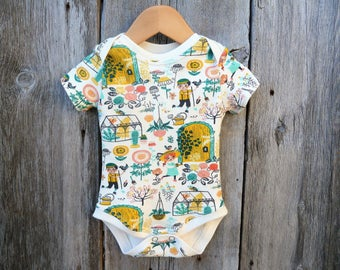 Organic baby bodysuit, Garden baby,Gender neutral baby gift,cactus baby clothes,baby girl gift,baby boy gift,organic bodysuit,similar onesie