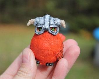 Skyrim- orange Bird- Figurine- Handcrafted Sculpture- Dovahkiin Dragon Born