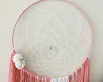 large dream catcher salmon with linin artificial flowers
