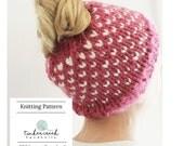 Fair Isle Bun Hat Knitting Pattern, Messy Bun Hat Knitting Pattern, Bun Hole Hat Knitting Pattern, Bun Beanie Knitting Pattern, Girls, Women