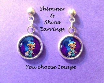 Shimmer and Shine earrings,you choose image,shimmer and shine,earrings,jewelry,necklaces,bracelets,gifts,shimmer and shine party theme,charm
