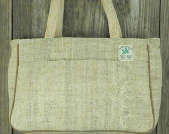 100% Hemp Handbag with double zipper interior compartment