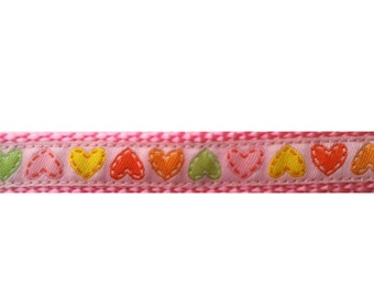 """Lovely Hearts Dog Collar (XS-M) 5/8"""" wide"""