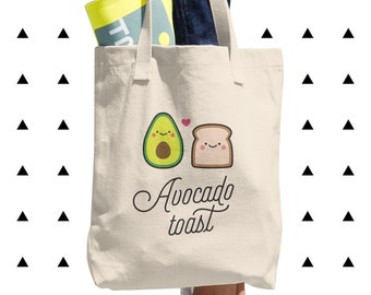 Avocado Toast Tote Bag, Vegan, Vegetarian, Plant Based, Foodie, Healthy, Bread, Kawaii, Cute, Funny, Love, Gift, Couple, Made in USA