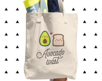Avocado Toast Tote Bag, Vegan, Vegetarian, Plant Based, Foodie, Healthy, Bread, Kawaii, Cute, Funny, Love, Gift, Couple, Made in USA