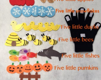 Five Little Pumpkins/bees/snowflakes/speckled frogs/fishes/monkeys/ducks/apples Finger Play Glove/ Puppet Glove Set/Story Time/Education