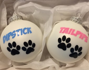 Dog Cat Ornaments Personalized Pet Glass Tree Ornament Set of Two! Choose Colors!