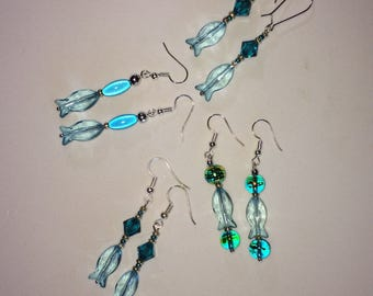Fish Earrings on Silver Wires