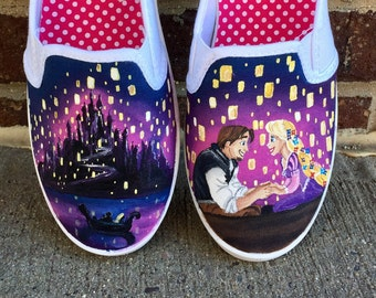 Disney tangled painted shoes - disney painted shoes - rapunzel - tangled