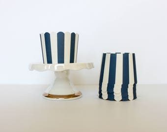 Navy and White Stripe Treat Cups / Navy and White Treat Cups / Treat Cups / Baking Cups / Navy and White / Striped Treat Cup