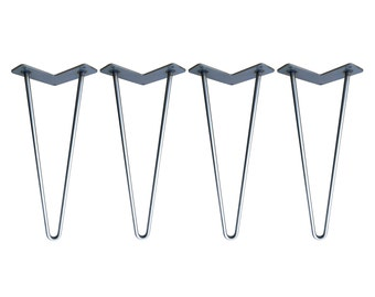 Hairpin Legs Set of 4, STAINLESS STEEL, Hairpin, Hairpin Table Legs, Mid Century Modern, Coffee Table, Industrial Loft Furniture, Metal Legs