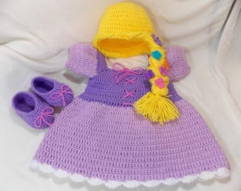 Princess Rapunzel Inspired Costume/ Crochet Rapunzel Wig/Princess Dress/Princess Photo Prop Newborn to 12 Month Size-MADE TO ORDER