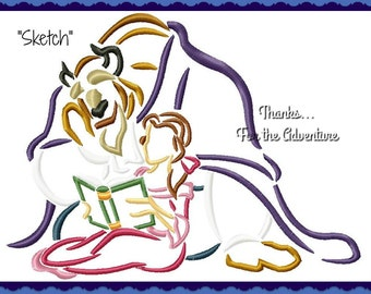 Princess Belle and the Beast from Beauty and the Beast Reading Sketch Digital Embroidery Machine  Design File 4x4 5x7 6x10