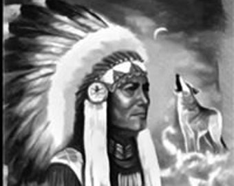 Indian Chief with lone wolf wall art canvas .... various sizes available