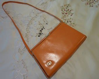 Vintage Purse ~ Ladies Hand Bag ~ Sherbert Orange Leather ~ Made in Spain ~ Slim Design ~ Charm of Yesteryear ~ Gold Tone Hardware