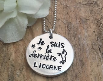 Hand Stamped French Unicorn Pendant Necklace, Unicorn Jewelry