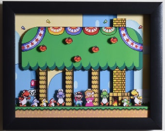 "Super Mario World (SNES) - ""Yoshi's House"" 3D Video Game Shadow Box with Glass Frame"