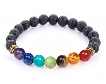 7 Chakra Healing Bracelet with Volcanic Lava, Mala Bracelet Meditation Bracelet - Protection, Energy, Healing