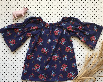 Baby Girl Cotton Dress Gathered Sleeve Neckline ~ Navy Rose