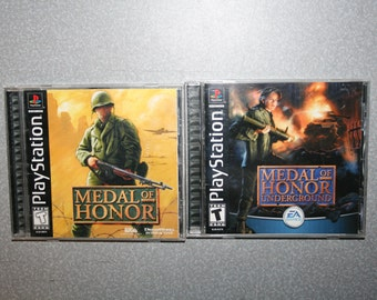 Lot of 2 Medal of Honor Game Original & Underground PS1 Complete PlayStation One Video Game Free Shipping