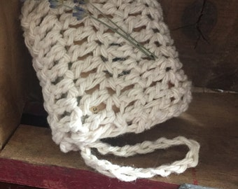 Hand Knitted Cotton Natural Soap Bag