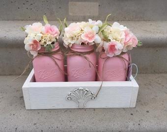 Mason Jar Centerpieces- Planter box centerpieces- Farmhouse Centerpiece- Valentines day gift- Gift for Her- Farmhouse Mason jar- Valentines
