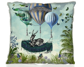 Hot Air Balloon Cushion cover - Flight of the Stag -  Hot Air Balloon pillow cover throw cushion accent pillow throw pillow Deer cushion