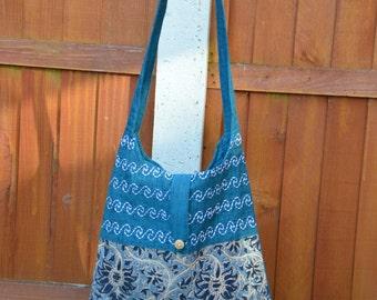 Cotton Shoulder bag, Single strap Kalamkari print cotton bag, hand block printed,  handmade, ethnic, Sustainable, tassels