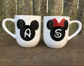 Personalized Minnie and Mickey Mugs, white ceramic