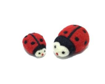 Needle felted Set Ladybug. Felt animal. Felted pet. Needle felt pet. Woolfelt Ladybug. Wool animal. Soft sculpture Ladybug ,