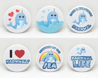 """Narwhal Love 2.25"""" pinback button or 2 1/4"""" Mirror   Six Options   Made with Love   Handmade   Original Art   Made in Canada   225NW08"""