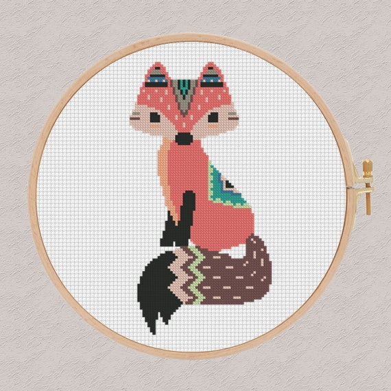 point de croix tribal fox point de croix moderne. Black Bedroom Furniture Sets. Home Design Ideas