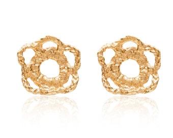 18k Gold Crochet Flower Earrings