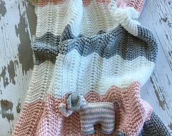 Hand Knit Chevron Baby Blanket Pink and Gray