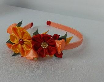 Headband, kanzashi yellow, orange and Red/tiara red/flowers-kanzashi kanzashi/Headband kanzashi/Ribbon satin