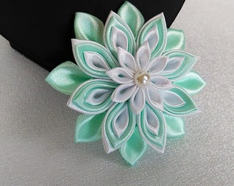 White and Mint green flower Barrette /Pince haired kanzashi/elastic / Darling/Fleur kanzashi/Ribbon satin